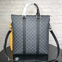 LV Louis Vuitton High Quality Newest Popular Black Check Leather Handbag Tote Shoulder Bag Crossbody Satchel