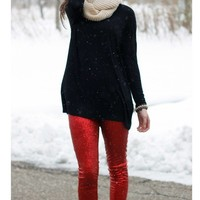 Sequin Leggings - Red - FINAL SALE. NO RETURNS. NO EXCHANGES.