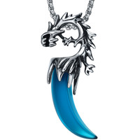 Stainless Steel Tribal Dragon W. Blue Tooth Gothic Pendant Necklace