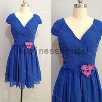 Blue cap sleeves chiffon dress with purple flower,prom dress 2014,short bridesmaid dress,chiffon prom dress,short formal evening dress 2014