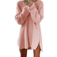 Elegant Autumn Long Sleeve Sweater Dress Women Casual 2016 Zipper Kintted Loose Winter Tunic Dresses robe hiver vetement femme