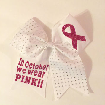 In October We Wear Pink Rhinestone Softball Hair Bow