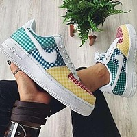 NIKE WMNS AIR FORCE 1 new women's plaid stitching low-top casual sneakers
