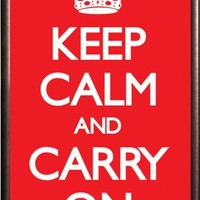 Keep Calm and Carry On 36x24 Dry Mount Poster Rust Wood Framed