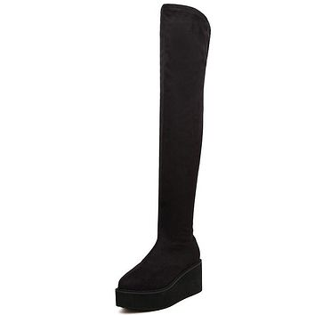 Velvet Side Zip Platform Thigh High Boots Wedge Heels 7501