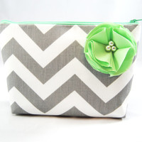 Gray chevron with Mint green accent cosmetic case, clutch, gadget bag, makeup or accessory tote