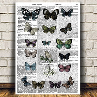 Nature poster Butterfly print Insect art Dictionary print RTA815