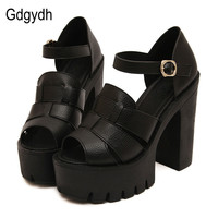 Gdgydh Fashion 2017 new summer wedges platform sandals women Black and White open toe high heels female shoes Free shipping