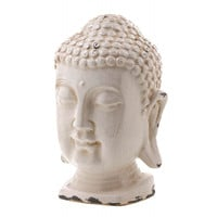 Crackle Glazed White Buddha Head Statue