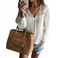 Women Casual Bouses Shirts Sexy V Neck Hollow Out Tie Long Sleeve Pullover Blouse for Women Beach Cotton Tops Blusas
