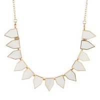 Enamel Chevron Collar Necklace by Charlotte Russe - White