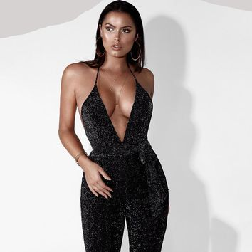Deep V Neck ~ Skinny Bodycon Jumpsuit
