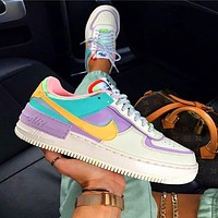 NIKE Air force AF1 macaron cream embroidery, laser vents on the upper, chrysanthemum pendant Green Yellow