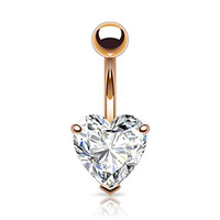 """Heart Shaped Rose Gold 14kt Plated CZ Belly Button Ring 316L 14g Navel Ring (11mm (0.43"""") width heart)"""