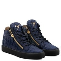 Giuseppe Zanotti Gz Kriss Blue Crocodile-embossed Leather Sneaker