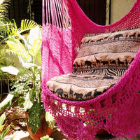 Fuchsia Sitting Hammock with Fringe, Hanging Chair Natural Cotton and Wood