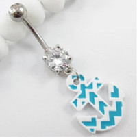 New Charming Dangle Crystal Navel Belly Ring Bling Barbell Button Ring Piercing Body Jewelry = 4804932612