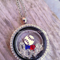 """Customized Floating Locket on Chain Necklace with ONE Sport Ball Charm, """"love"""" plate and Two Crystal Charms Personalized Your Way"""