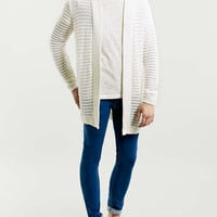 WHITE SHEER RIB OPEN CARDIGAN - Men's Cardigans & Sweaters - Clothing