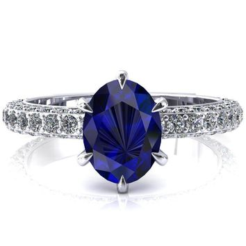 Vanessa Oval Blue Sapphire 6 Claw Prongs 3/4 Pavé Eternity Engagement Ring