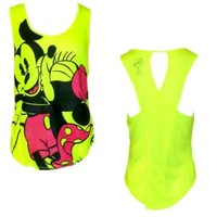 Disneys Teen/Junior Fashion Tank Top Mickey Minnie Mouse Forever, S, Florescent Yellow