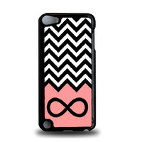 Infinity Coral Chevron iPod Touch 5 Case - For iPod Touch 5/5G - Designer Plastic Snap On Case