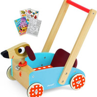 Janod 05995 Crazy Doggy Chariot Cart with Coloring Book