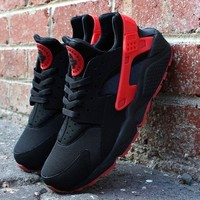 """NIKE""AIR Huarache Black&Red Women Men Running Sport Casual Shoes Sneakersa"