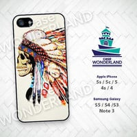 iPhone Case, Indian Chief, Skull, Feather, iPhone 5 case, iPhone 5C Case, iPhone 5S case, iPhone 4 Case, iPhone 4S Case, Phone Skin, SK04