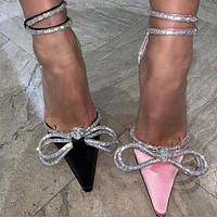 Elegant Satin Wedding Shoes Bling Ankle Strap Pointed Toe High Heels Pumps Sandals Women Sweet Bowtie Shoes