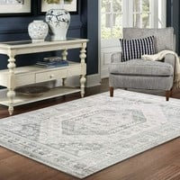 4635 Ivory Distressed Traditional Area Rugs