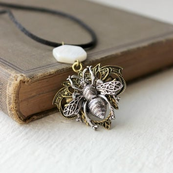 Black Nylon Cord Necklace with Gold and Silver Bee Steampunk Pendant - Cream Beaded Honeycomb Shell Jewelry - Hexagon Shape - Ready to Ship