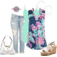 Set 479: Blue Floral Sleeveless (includes top, tank & hoops)