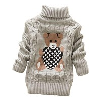 autumn winter Infant Baby Boys Girls Children Kids Knitted bear Pullovers Turtleneck Warm Outerwear Sweaters 1-8 year