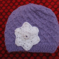 Crochet baby Newborn,Lila baby mohair knitted hat with white crocheted flower, Children Clothing baby shower spring fashion,Fluffy baby hat