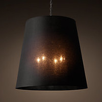 Sheer Linen Barrel Chandelier - Aged Steel With White Shade
