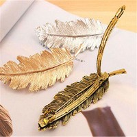 Fashion Womens Leaf Feather Hair Clip Hairpin Barrette Bobby Girl Pin 3 Colors