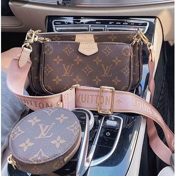 Louis Vuitton LV Trend Letter Check Embossed Three-piece Set Fashion Ladies Coin Purse Chain Bag Shoulder Messenger Bag