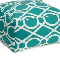 Z Gallerie - Lattice Bamboo Pouf - Aquamarine