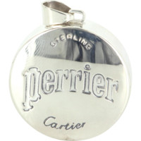 Cartier Perrier Vintage 925 Sterling Silver Bottle Cap Pendant Estate Designer Fine