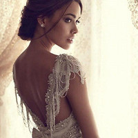 Stock Lace White/Ivory Wedding Dress Evening Prom Ball Bride Gown Size 6-16