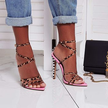 Fashion leopard print color matching sexy fashion pointed high heel sandals