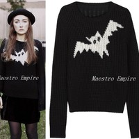 Bat Pattern Honeycomb Gothic Punk Chunky Cable Black Sweater Jumper Knit Top