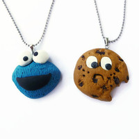 Best Friends Necklace, Cookie Monster and Cookie, BFF necklace, Friendship gift, Friendship set, Kawaii necklace set
