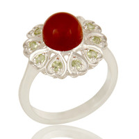 Natural Peridot And Red Onyx Gemstone Cocktail Ring Made In Sterling Silver