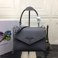 PRADA WOMEN'S LEATHER 1BA186 HANDBAG INCLINED SHOULDER BAG