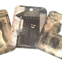 Ghostly Tags - Set of 6 - Primitive Tags - Halloween Tags - Holiday Tags - Thank Yous - Spooky Tags - Haunted House - Halloween Ghosts