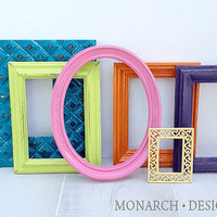 Bright set - Teen girl wall gallery - Upcycled set of 6