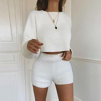 Long Sleeve Solid High Waist Woollen Shorts Top Sweater Pullover Set Two-Piece