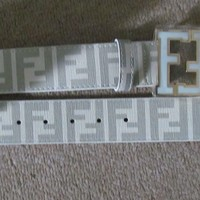 Fendi designer white  leather belt  30 - 38